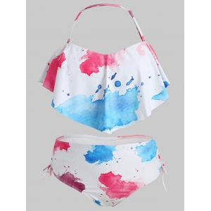 Plus Size Abstract Print Flounce Bikini Set -