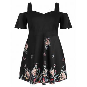 Plus Size Tropical Floral Fit and Flare Dress -