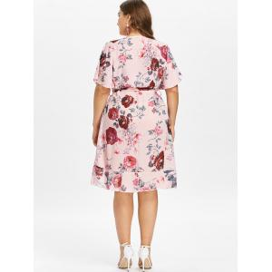 Plus Size Floral Faux Wrap Dress -