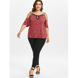 Plus Size Double Strap Cold Shoulder T-shirt -