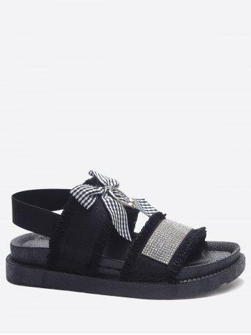 Hot Faux Crystal Bowknot Vacation Platform Sandals
