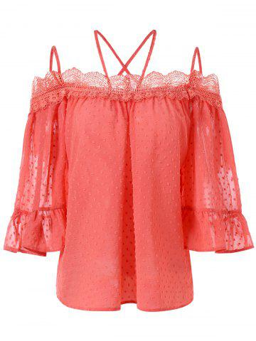Unique Spaghetti Strap Bell Sleeve Lace Insert Blouse