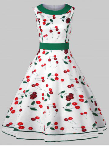 Hot Vintage Cherry Print Party Skater Dress