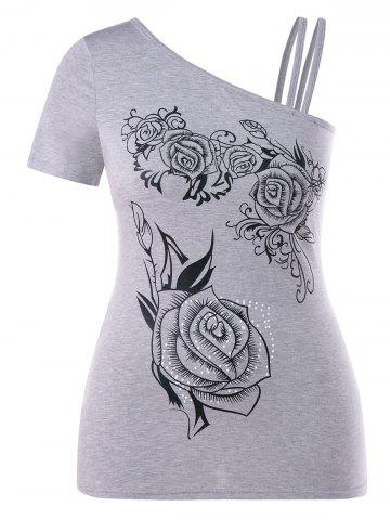 Best Plus Size Floral Skew Collar T-shirt