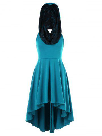 Affordable Convertible Hooded High Low Swing Dress