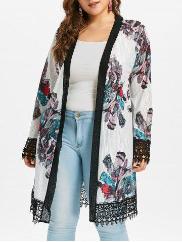 Store Plus Size Lace Crochet Print Coat