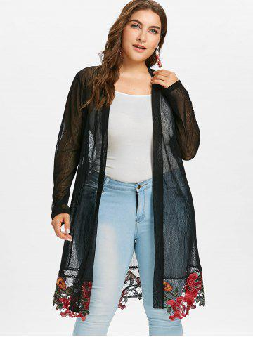 Plus Size Sheer Long Embroidered Coat