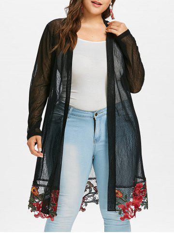 Online Plus Size Sheer Long Embroidered Coat
