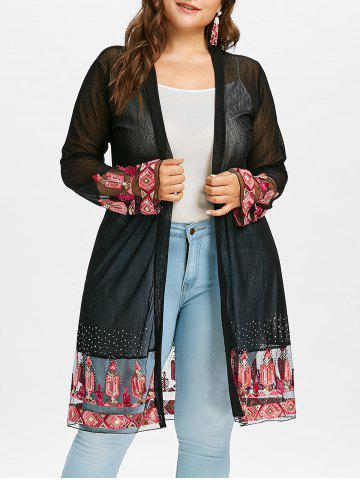 Affordable Plus Size Kimono Embroidered Sheer Coat