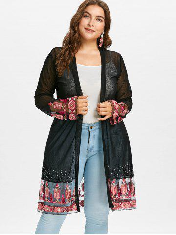 Plus Size Kimono Tops Floral Long Sleeve And Chiffon Cheap With