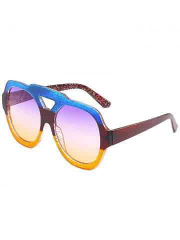 Latest Hollow Out Frame Two Tone Oversized Sunglasses