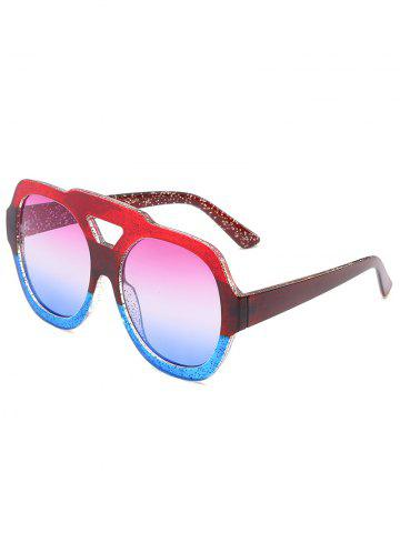 New Hollow Out Frame Two Tone Oversized Sunglasses