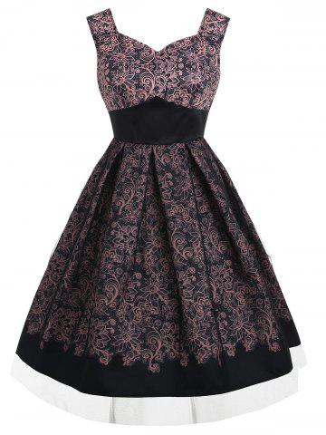 Fancy Sleeveless Print Vintage Flared Dress