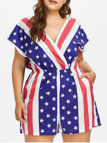 Affordable Plus Size American Flag Surplice Romper