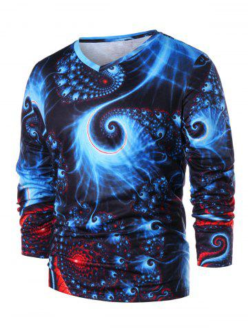 Affordable 3D Abstract Fractal Spiral Print Long Sleeve T-shirt