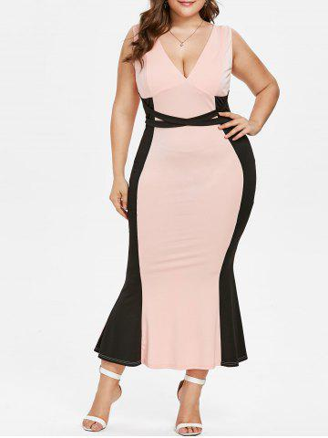 Chic Plus Size Plunging Neck Maxi Mermaid Dress