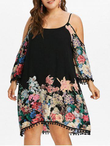 Affordable Plus Size Floral Knee Length Shift Dress