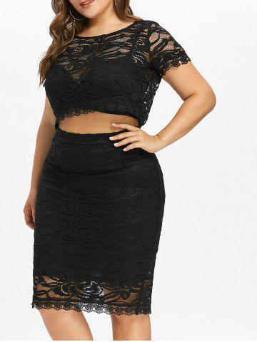 Affordable Short Sleeve Plus Size Lace Two Piece Dress