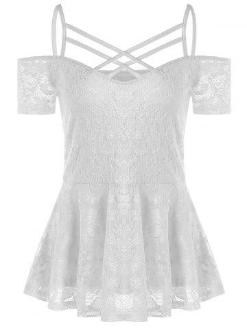 Trendy Cold Shoulder Strappy Lace Smock Blouse