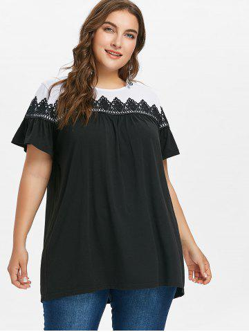 Plus Size Lace Insert Two Tone T-shirt
