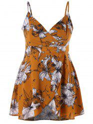 Plus Size Tropical Floral Slip Tank Top -
