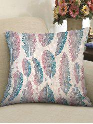 Ombre Feathers Print Decorative Linen Sofa Pillowcase -