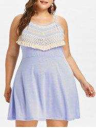 Plus Size Crochet Lace Mini Slip Dress -