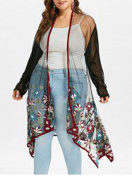 Plus Size Embroidery Midi Sheer Coat -