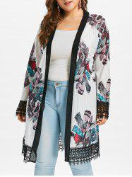 Plus Size Lace Crochet Print Coat -