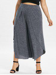 Plus Size Overlap Wide Leg Cropped Pants -