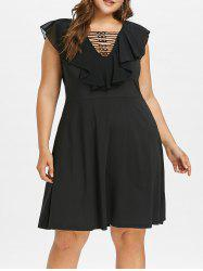 Plus Size Ruffle Lattice Dress -