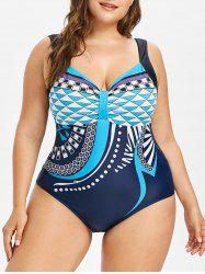 Plus Size Geometric Print One Piece Swimwear -