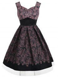 Sleeveless Print Vintage Flared Dress -