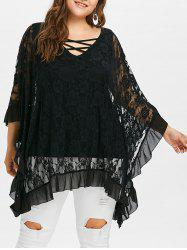 Plus Size V Neck Butterfly Sleeve Blouse -
