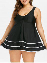 Plus Size Tiered Skirted Tankini Swimsuit -