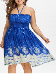 Plus Size Smocked Halter Bohemian Dress -