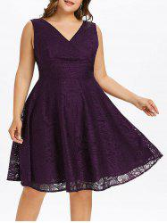 Plus Size Lace Surplice Dress -