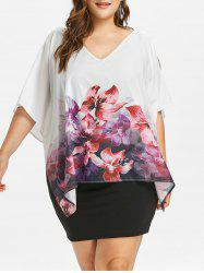 Plus Size Floral Slit Sleeve Overlay Dress -