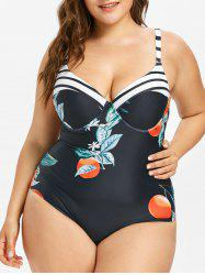 Plus Size One Piece Fruit Print Bustier Swimwear -