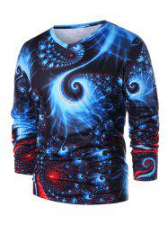 3D Abstract Fractal Spiral Print Long Sleeve T-shirt -