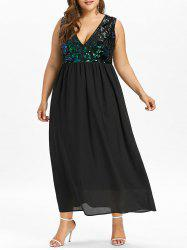 Plus Size Low Cut Sparkly Maxi Flowing Dress -