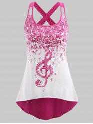 Plus Size Musical Notes High Low Tank Top -
