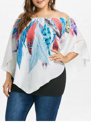 Plus Size Off Shoulder Feather Overlay Top -