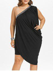 Plus Size One Shoulder Asymmetric Draped Dress -