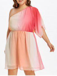 Plus Size Ombre Print One Shoulder Dress -