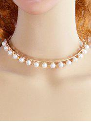 Alloy Faux Pearl Openwork Necklace -