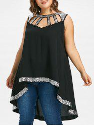 Sequin Insert Plus Size High Low Top -