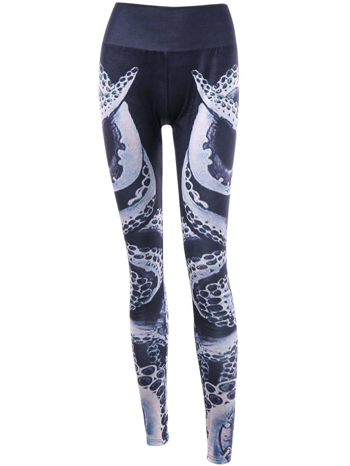 Chic Octopus Print Elastic Waist Leggings