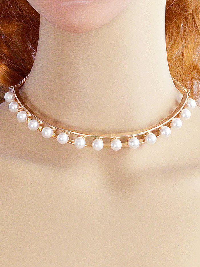 Shop Alloy Faux Pearl Openwork Necklace