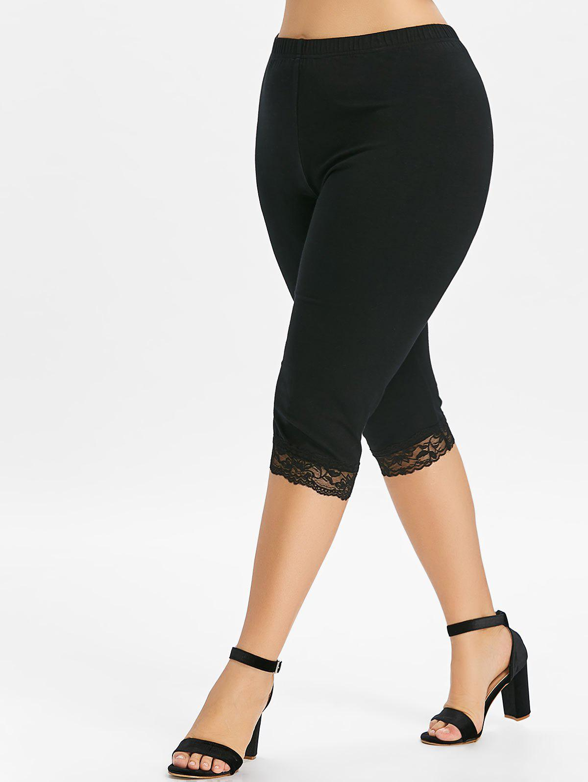 Best Plus Size Lace Trim Knee Length Leggings